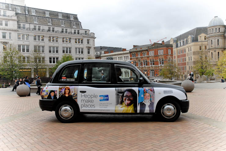2011 Ubiquitous taxi advertising campaign for Marketing Birmingham - People make Places