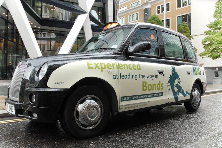 2011 Ubiquitous taxi advertising campaign for M&G - Experienced at Leading the way in Bonds