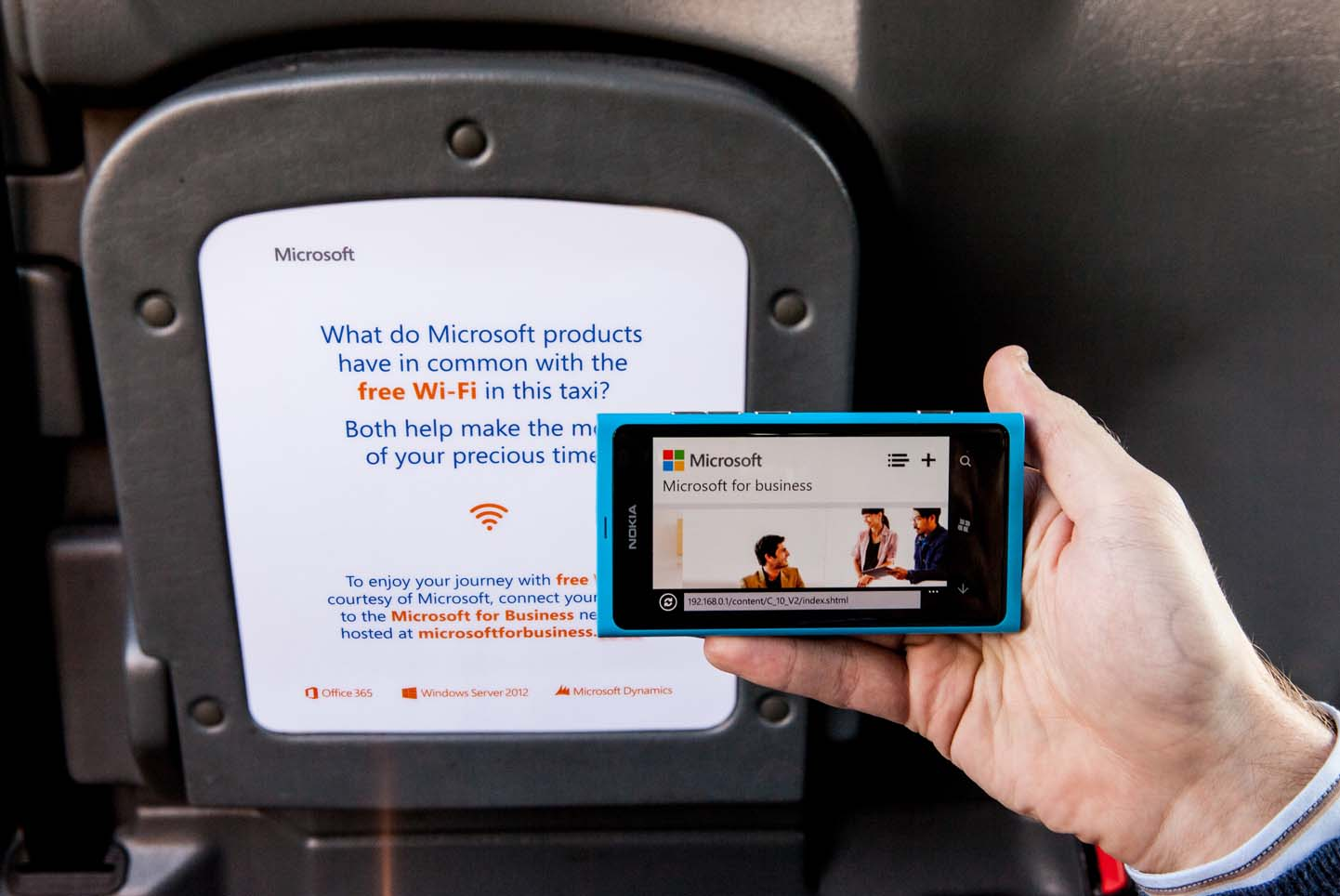 2013 Ubiquitous taxi advertising campaign for Microsoft - Free WiFi in this Taxi from Microsoft