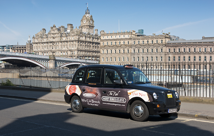 2011 Ubiquitous taxi advertising campaign for Mary King's Close - What Lies Beneath?