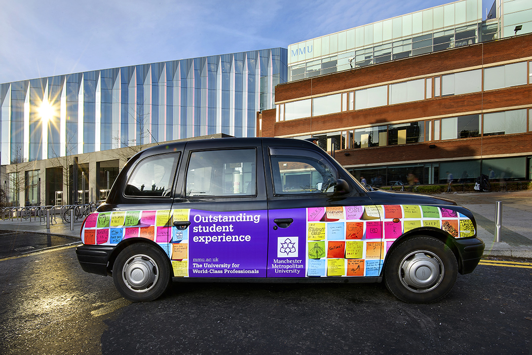2012 Ubiquitous taxi advertising campaign for Manchester Metropolitan University - The University for World-Class Professionals