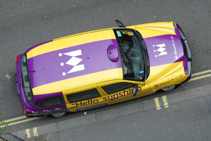"""2013 Ubiquitous taxi advertising campaign for Monarch - """"Hello Sunshine"""""""