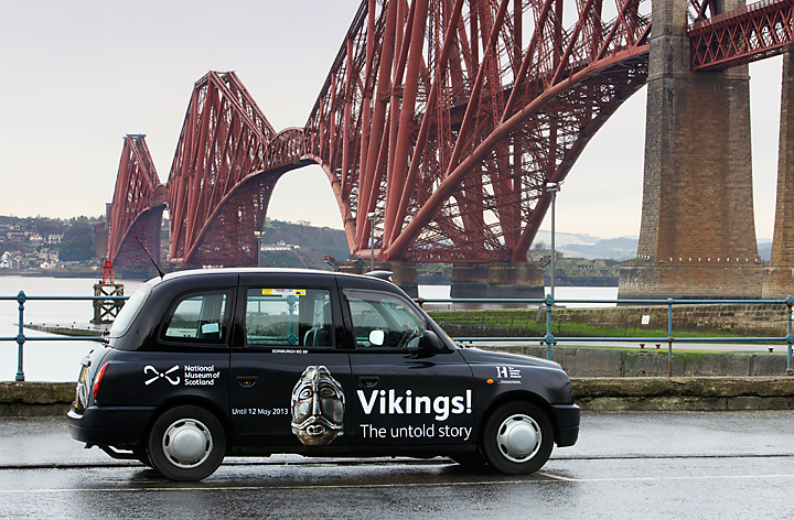 2013 Ubiquitous taxi advertising campaign for National Museums of Scotland - Vikings! The Untold Story