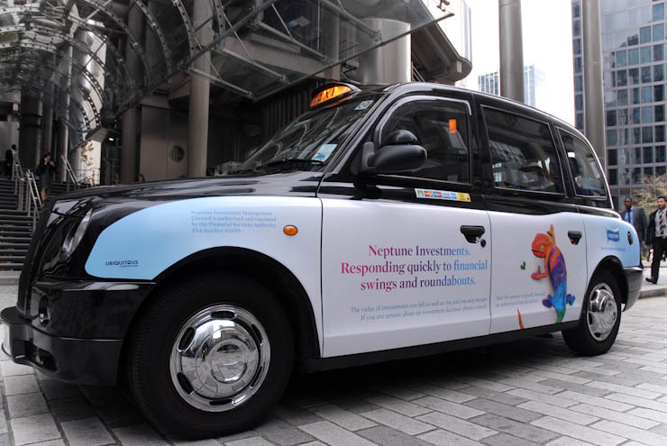 2011 Ubiquitous taxi advertising campaign for Neptune - Neptune Investments responding quickly to financial swings and roundabouts