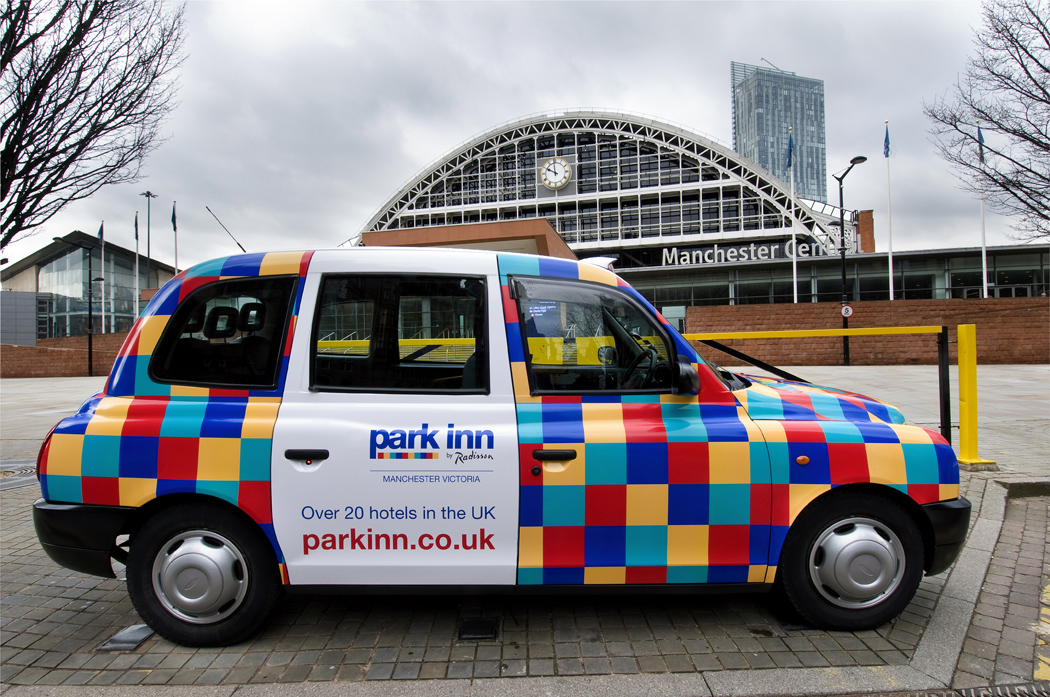 2012 Ubiquitous taxi advertising campaign for Park Inn - Over 20 Hotels in the UK