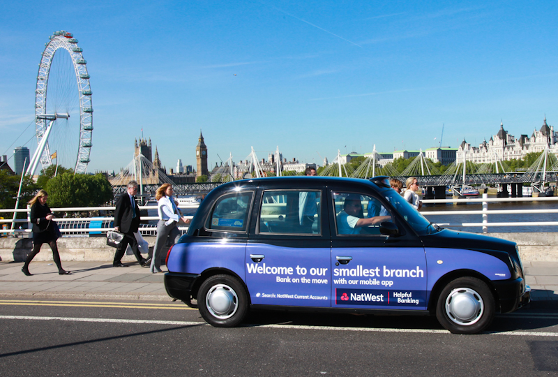 2013 Ubiquitous taxi advertising campaign for RBS - Welcome To Our Smallest Branch