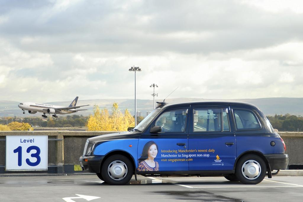 2007 Ubiquitous taxi advertising campaign for Singapore Airlines - Manchester to Singapore Non Stop