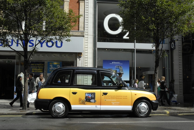 """2009 Ubiquitous taxi advertising campaign for Sony Ericsson - I """"love"""" Showtime, Anytime"""