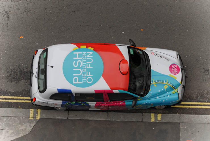 2012 Ubiquitous taxi advertising campaign for Swatch - Push the button of fun