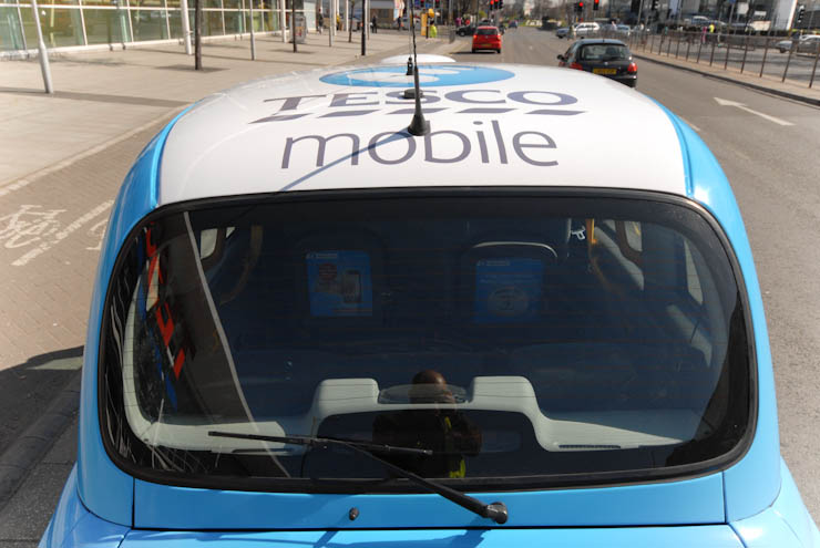 2012 Ubiquitous taxi advertising campaign for Tesco Mobile  - Triple your credit