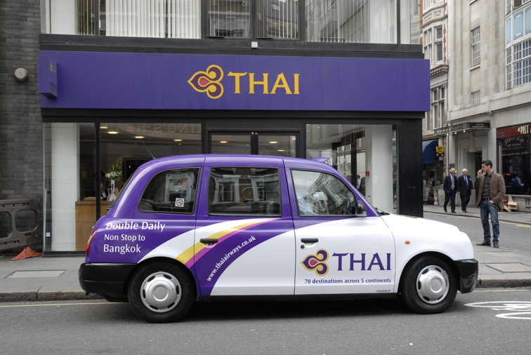 2008 Ubiquitous taxi advertising campaign for Thai Airlines - 70 Destinations across 5 continents