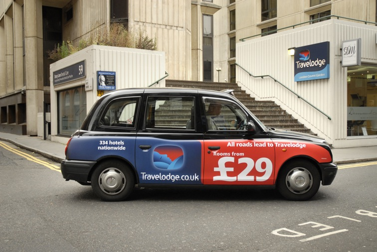 2007 Ubiquitous taxi advertising campaign for Travelodge - All Roads lead to Travelodge