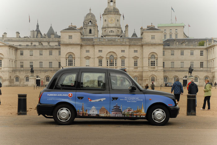 2010 Ubiquitous taxi advertising campaign for Turkish Airlines - Fly to Istanbul and more than 150 cities worldwide from London