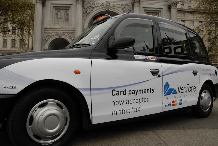 2011 Ubiquitous taxi advertising campaign for Verifone - Card payments now accepted in this taxi