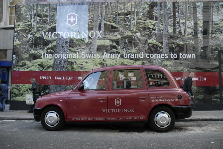 2008 Ubiquitous taxi advertising campaign for Victorinox - Bond Street Store Opening