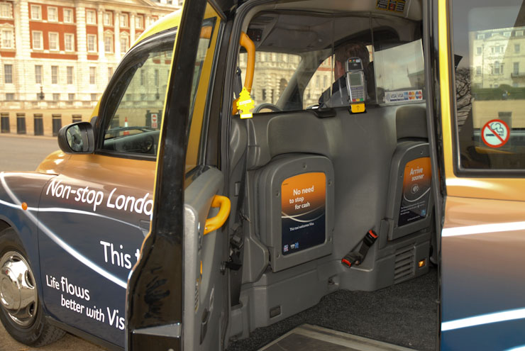 2010 Ubiquitous taxi advertising campaign for Visa - Non Stop London; This Taxi Welcomes Visa