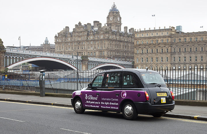 2012 Ubiquitous taxi advertising campaign for Visit Scotland - ...We'll Point You In The Right Direction