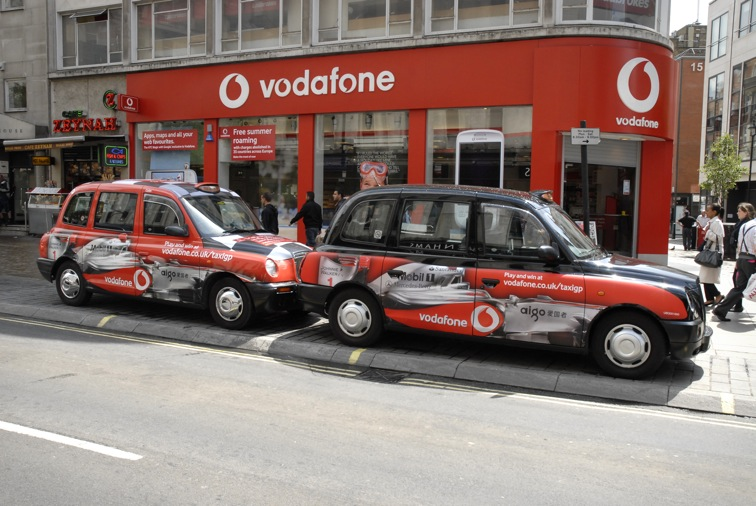 2009 Ubiquitous taxi advertising campaign for Vodafone - vodafone.co.uk/taxigp