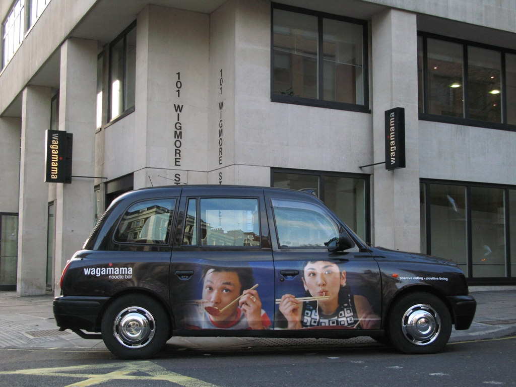 2007 Ubiquitous taxi advertising campaign for Wagamama - Positive Eating + Positive Living