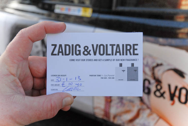 2013 Ubiquitous taxi advertising campaign for Zadig & Voltaire - zadigetvoltaire.com