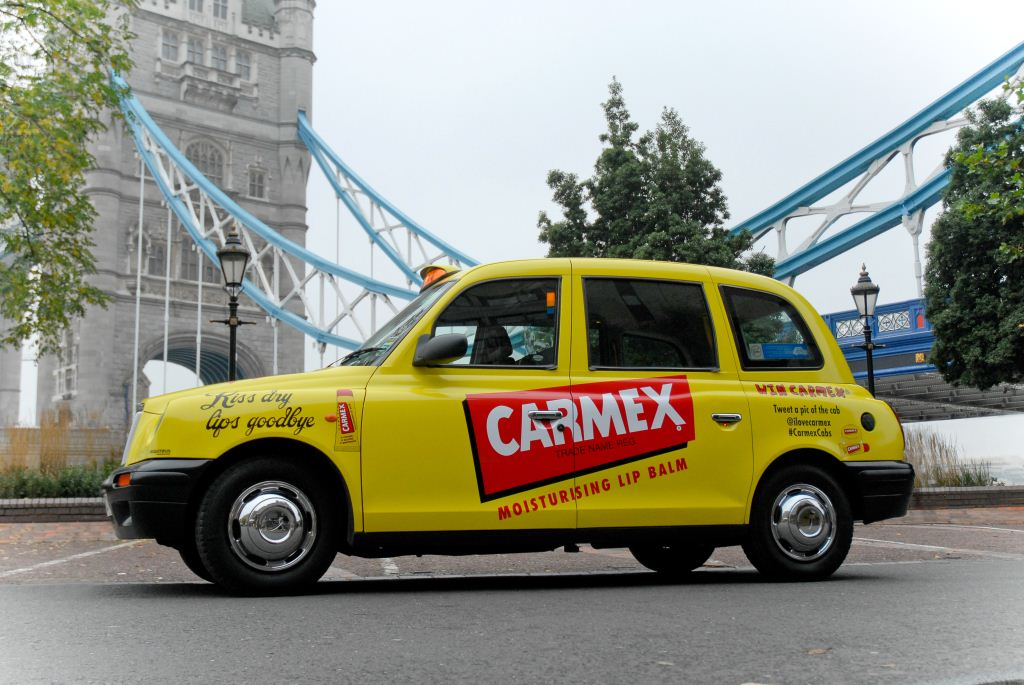 2012 Ubiquitous taxi advertising campaign for Carmex - Moisturising Lip Balm