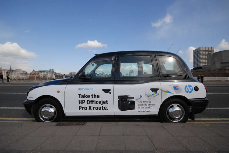 2014 Ubiquitous taxi advertising campaign for Hewlett Packard  - Experience no delays