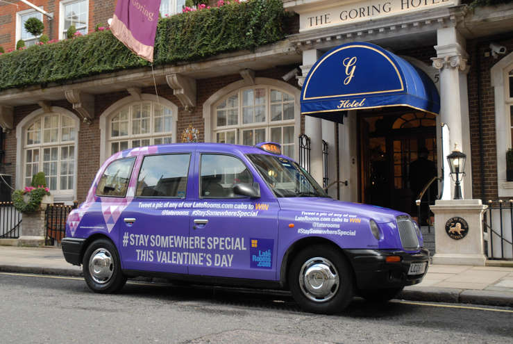 2014 Ubiquitous taxi advertising campaign for Laterooms - #StaySomewhereSpecial This Valentines Day