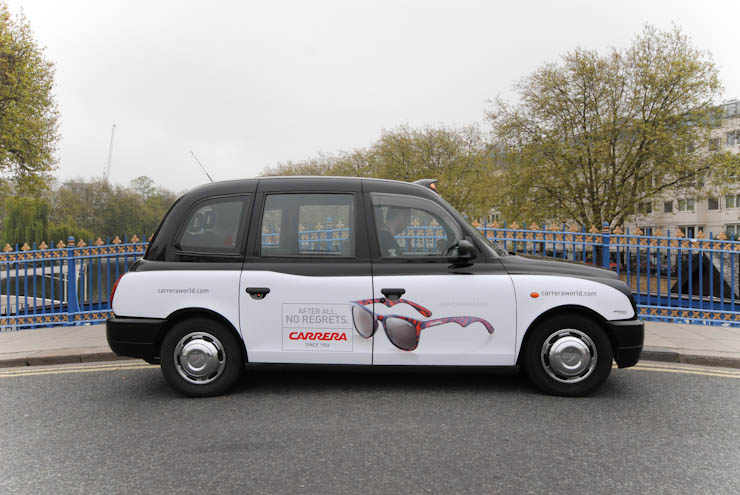 2012 Ubiquitous taxi advertising campaign for Safilo - After All No Regrets - Carrera