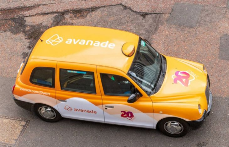 Roof view of the Avanade wrapped taxi.