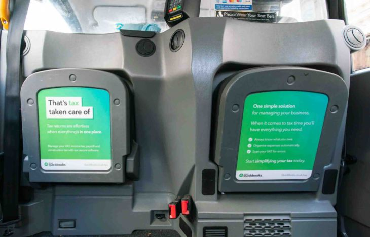 Intuit Quickbooks taxi tip-seat posters