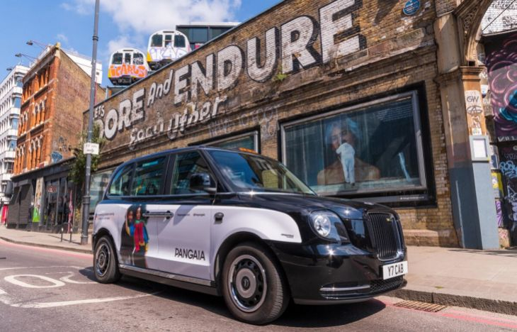 Pangaia SuperSide taxi in Shoreditch