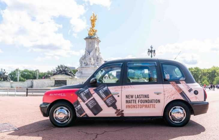 Close up of the Rimmel branded taxi
