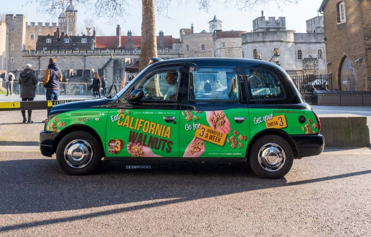 California Walnuts Superside Taxi Advertising
