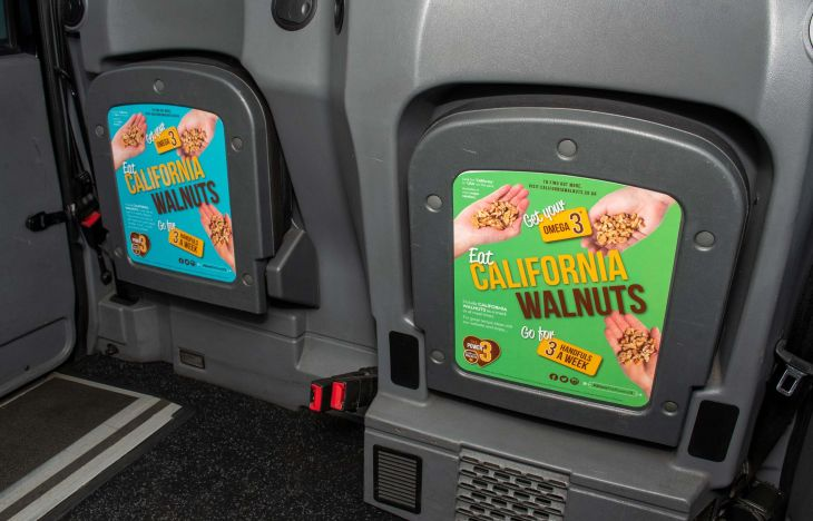 California Walnuts Tip Seats Taxi Advertising