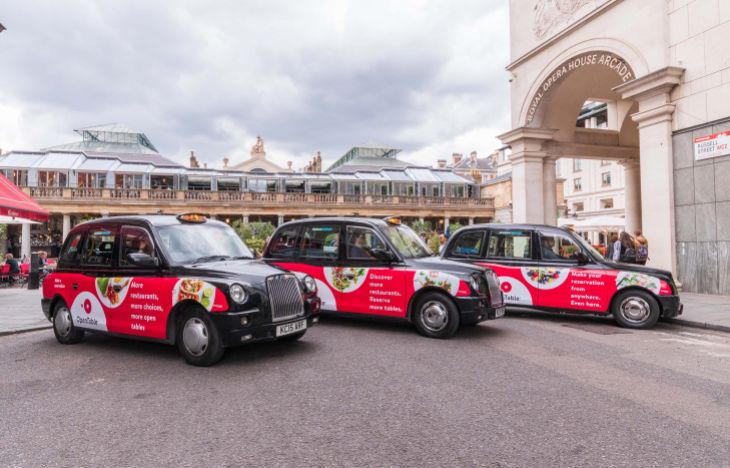 Three OpenTable SuperSide Taxi Advertising