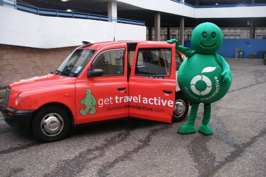 2010 Ubiquitous taxi advertising campaign for Dundee City - Get Travel Active