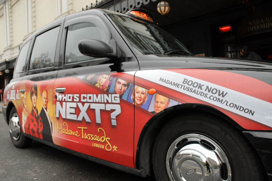 2011 Ubiquitous taxi advertising campaign for Madame Tussauds - Who's Coming Next?