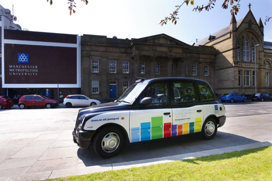 2012 Ubiquitous taxi advertising campaign for Manchester Metropolitan University - Our world-class facilities can open new doors