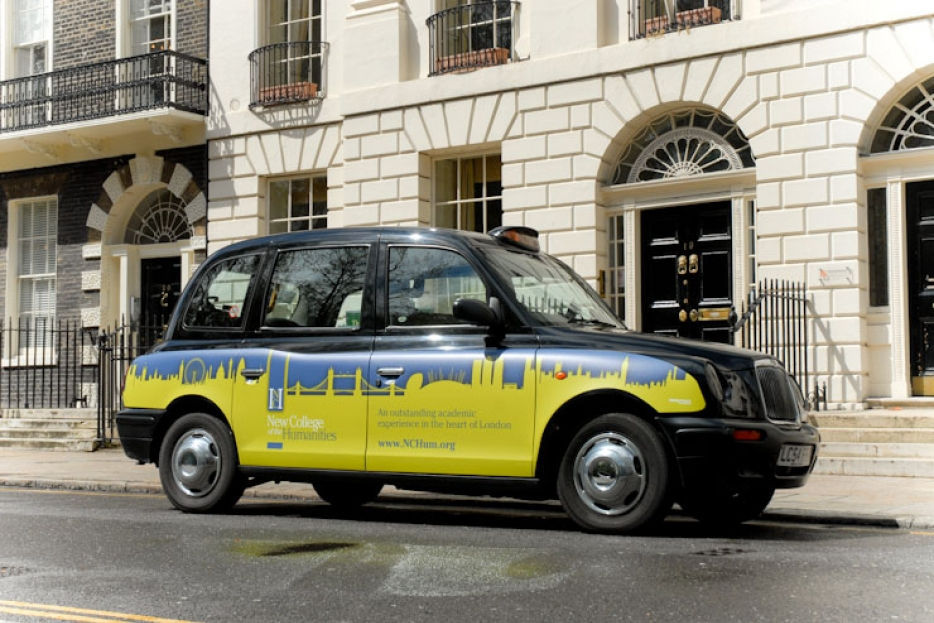 2012 Ubiquitous taxi advertising campaign for New College of the Humanities - An Outstanding Academic Experience in the Heart of London