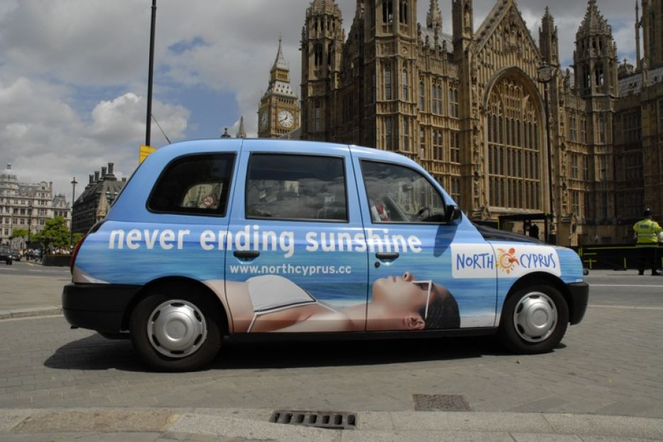 2008 Ubiquitous taxi advertising campaign for North Cyprus Tourist Board  - Never Ending Sunshine
