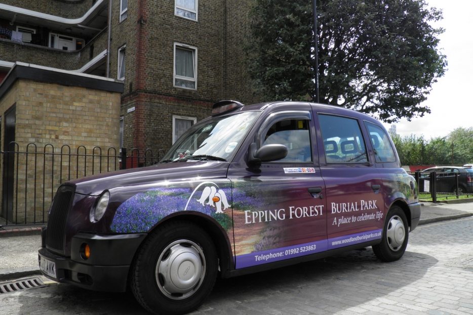 2011 Ubiquitous taxi advertising campaign for Woodland Burial Park - Epping Forest Burial Park