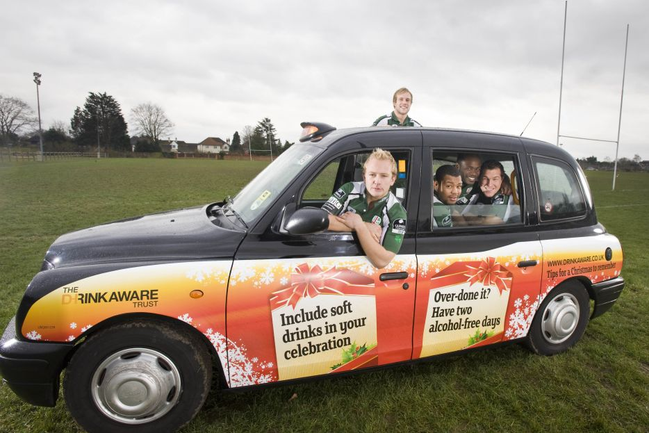 2008 Ubiquitous taxi advertising campaign for Drink Aware - Tips for a Christmas to remember