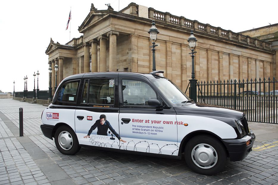 2007 Ubiquitous taxi advertising campaign for Talk 107 - Enter at your own risk