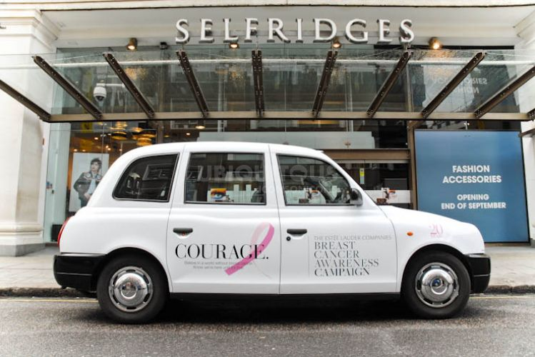 2012 Ubiquitous taxi advertising campaign for Estee Lauder - Breast Cancer Awareness Campaign