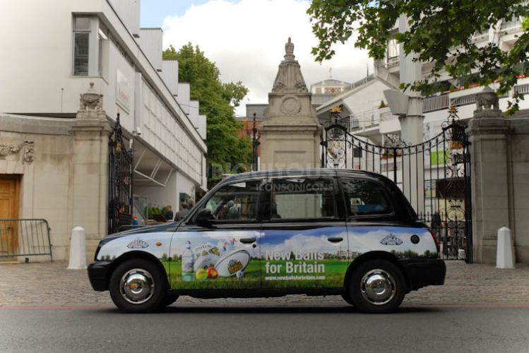 2011 Ubiquitous taxi advertising campaign for Highland Spring - New Balls for Britain