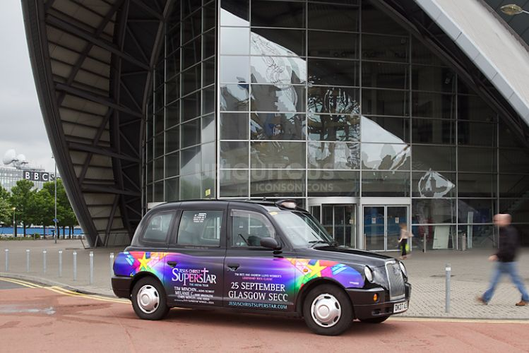 2012 Ubiquitous taxi advertising campaign for Jesus Christ Superstar - 25 September Glasgow SECC