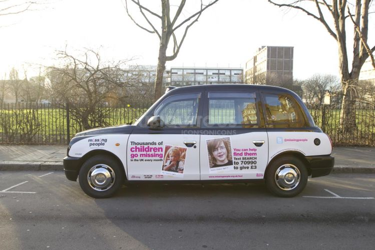 2012 Ubiquitous taxi advertising campaign for Missing People - You can help find them