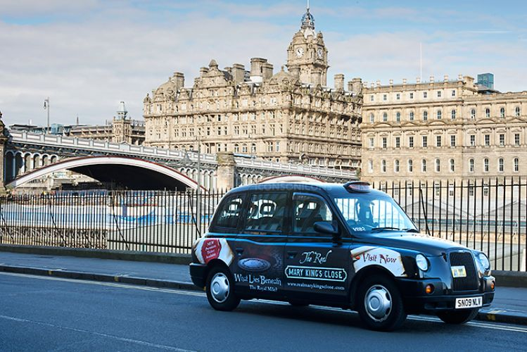2012 Ubiquitous taxi advertising campaign for Mary King's Close - What Lies Beneath?