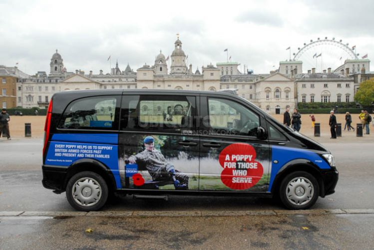 2013 Ubiquitous taxi advertising campaign for Royal British Legion - A poppy for those who serve