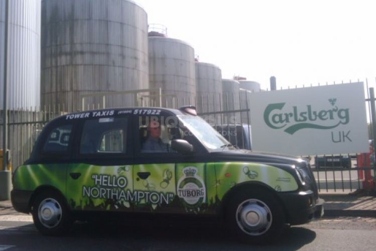 2010 Ubiquitous taxi advertising campaign for Carlsberg - Tuborg - Hello Reading/Northampton